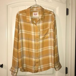 Sz XXL Mossimo yellow plaid button up worn once